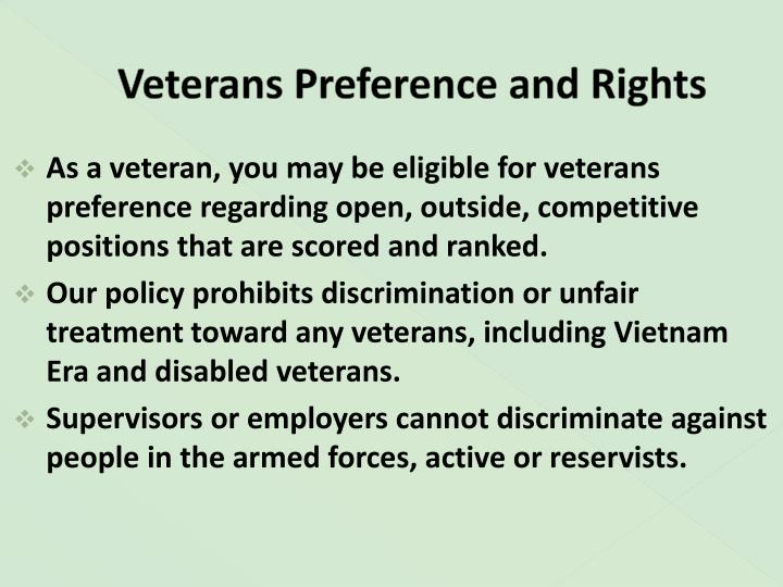 Veterans preference and rights
