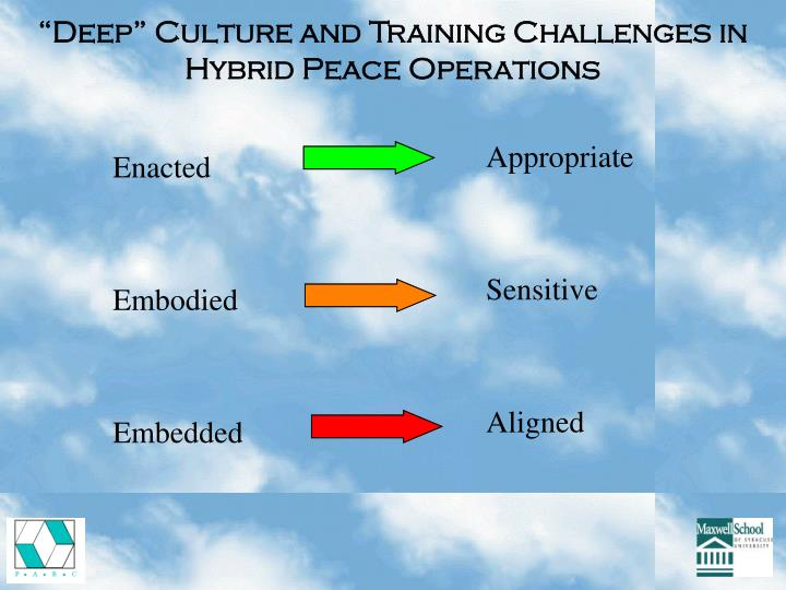 """""""Deep"""" Culture and Training Challenges in Hybrid Peace Operations"""