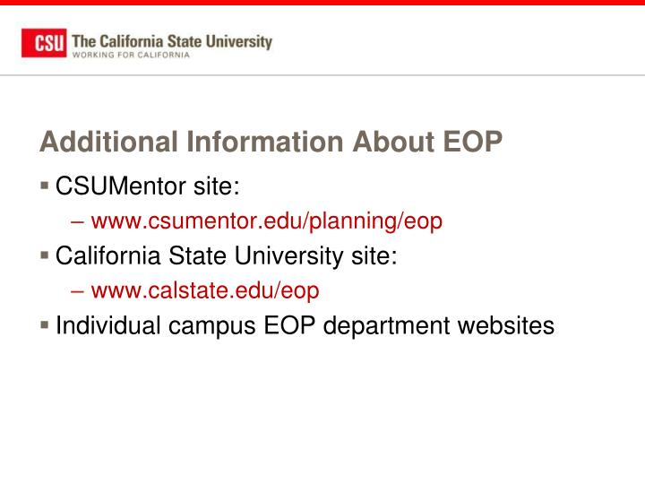 Additional Information About EOP