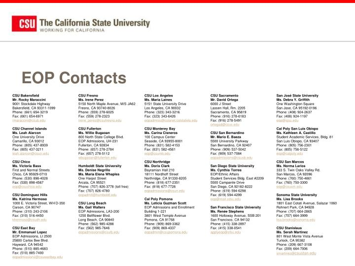 EOP Contacts