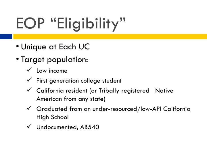 """EOP """"Eligibility"""""""