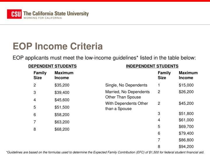 EOP Income Criteria