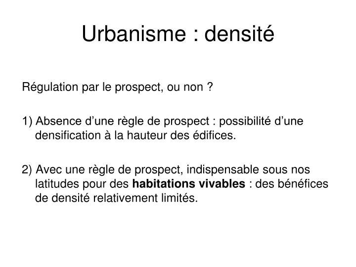 Urbanisme : densité