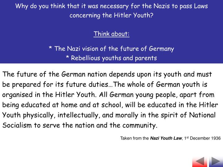Why do you think that it was necessary for the Nazis to pass Laws concerning the Hitler Youth?