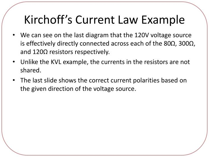 Kirchoff's Current Law Example