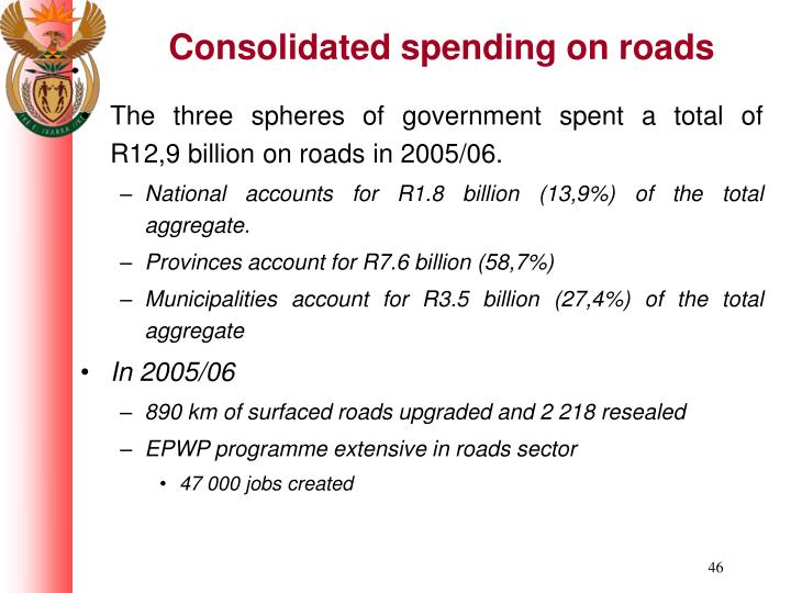 The three spheres of government spent a total of R12,9 billion on roads in 2005/06.