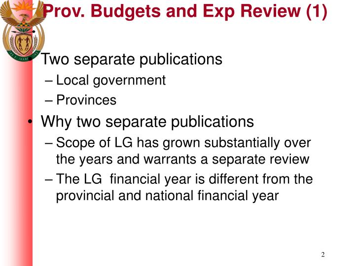 Prov budgets and exp review 1