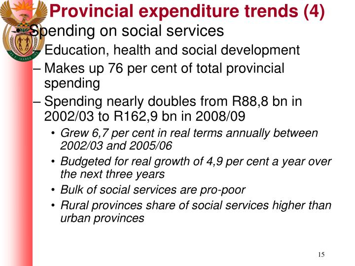 Provincial expenditure trends (4)