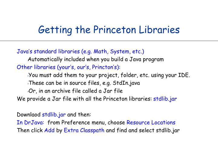 Getting the Princeton Libraries