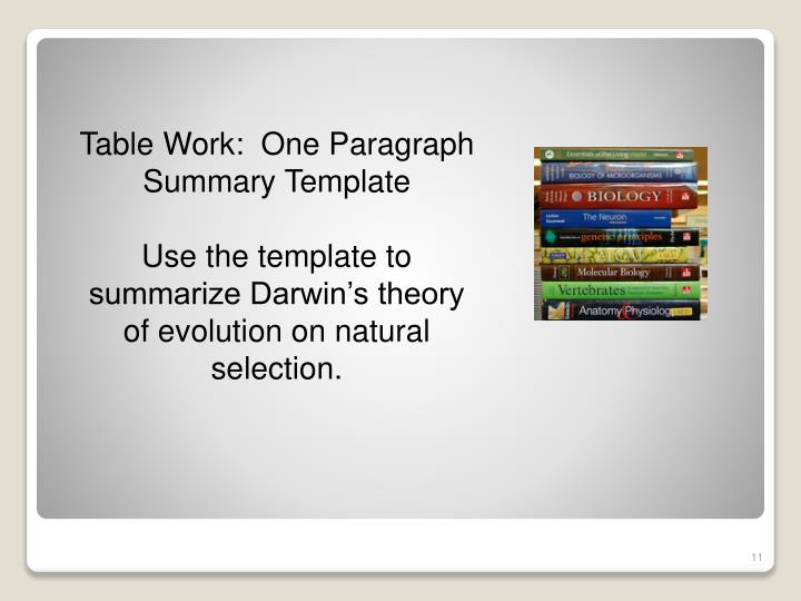 Table Work:  One Paragraph Summary Template