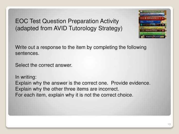 EOC Test Question Preparation Activity