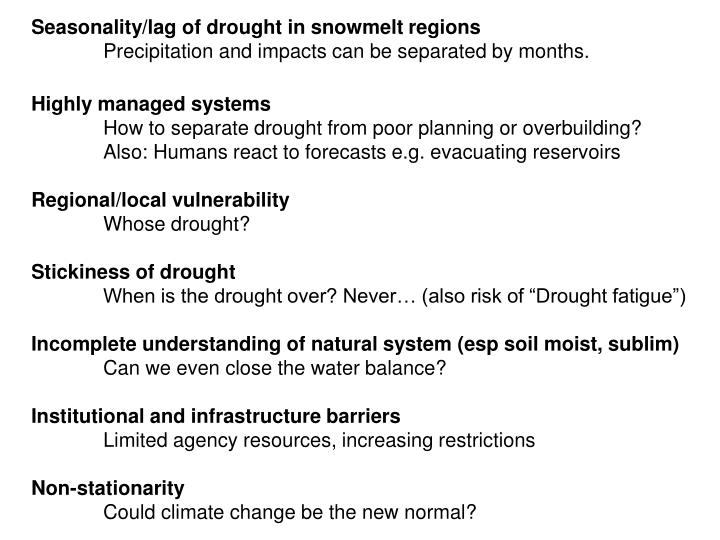 Seasonality/lag of drought in snowmelt regions