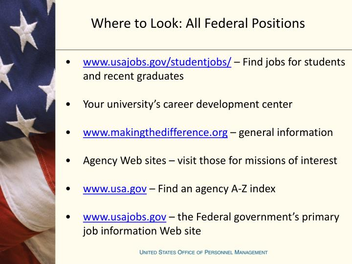 Where to Look: All Federal Positions