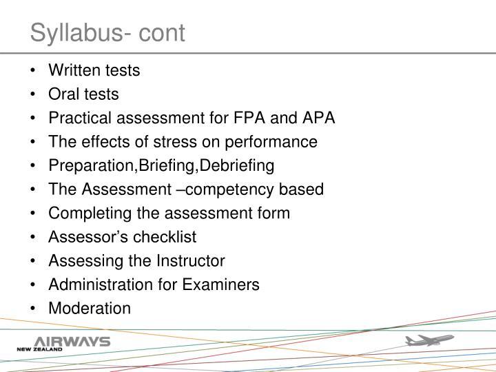 Syllabus- cont