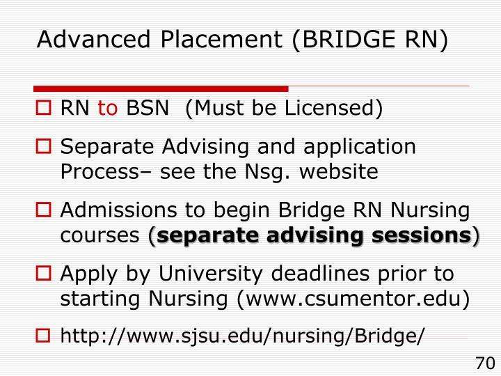 Advanced Placement (BRIDGE RN)