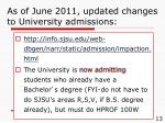 as of june 2011 updated changes to university admissions