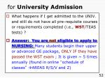 for university admission