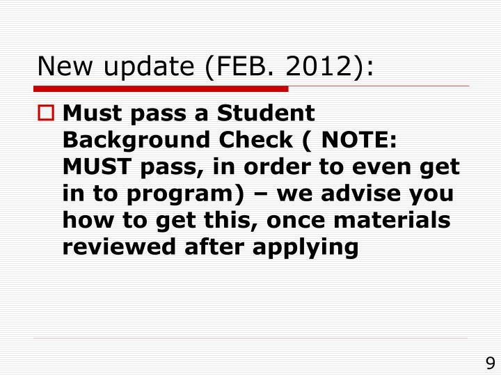 New update (FEB. 2012):