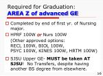 required for graduation area z of advanced ge