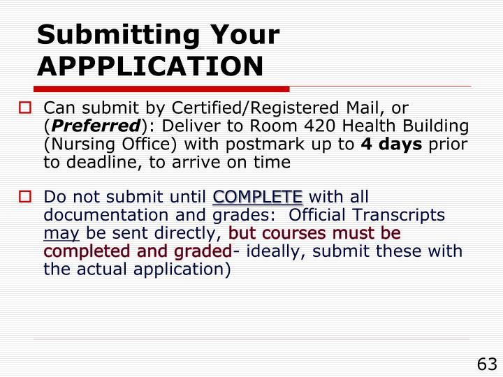 Submitting Your APPPLICATION