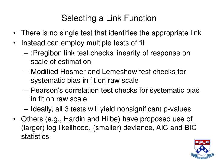 Selecting a Link Function