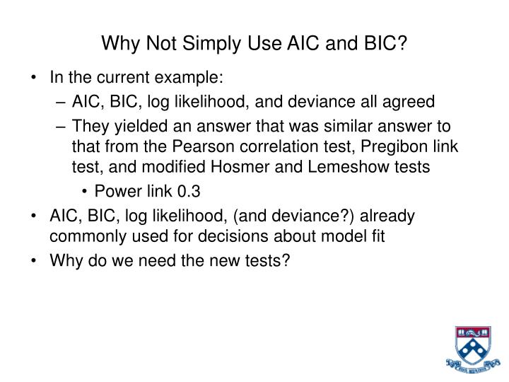 Why Not Simply Use AIC and BIC?