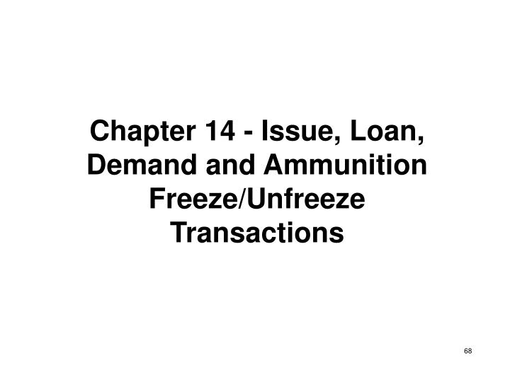 Chapter 14 - Issue, Loan, Demand and Ammunition Freeze/Unfreeze Transactions