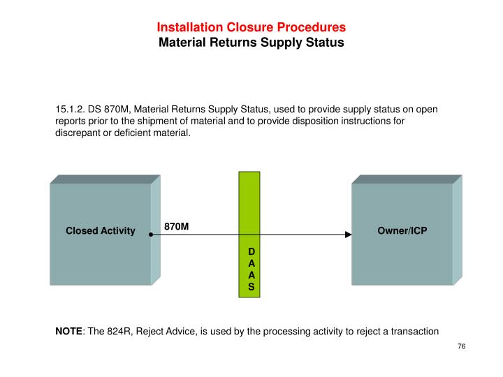 Installation Closure Procedures