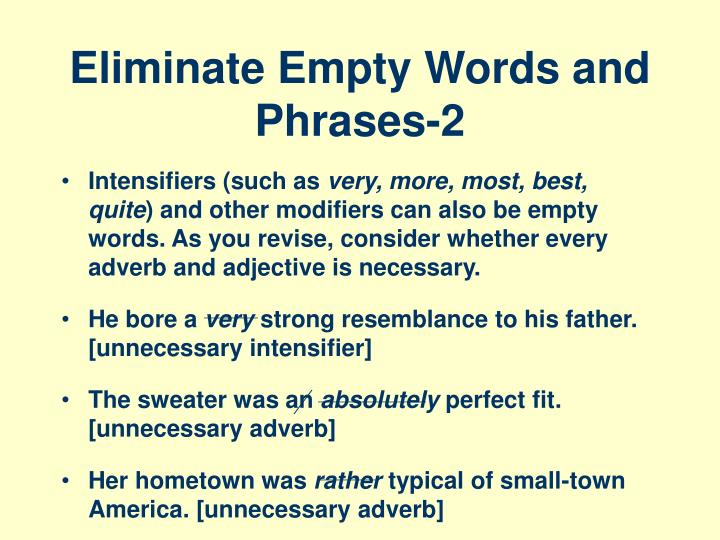 Eliminate empty words and phrases 2