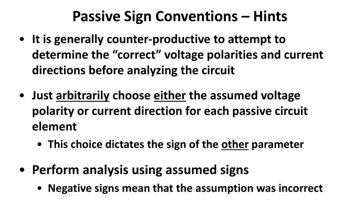 Passive Sign Conventions – Hints
