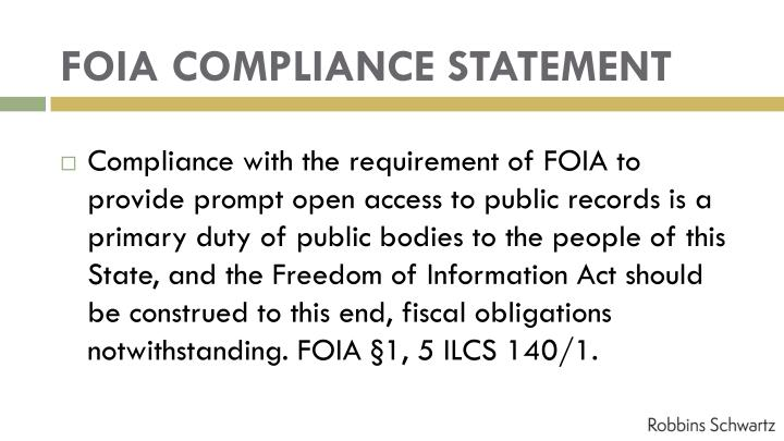 FOIA COMPLIANCE STATEMENT