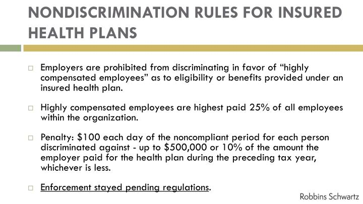 NONDISCRIMINATION RULES FOR INSURED HEALTH PLANS