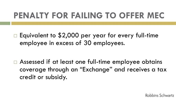 PENALTY FOR FAILING TO OFFER MEC