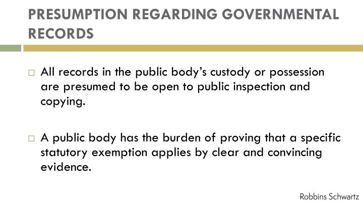 PRESUMPTION REGARDING GOVERNMENTAL RECORDS