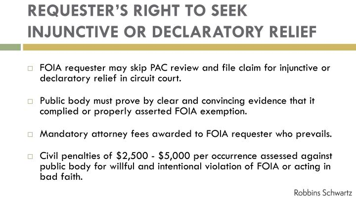 REQUESTER'S RIGHT TO SEEK INJUNCTIVE OR DECLARATORY RELIEF