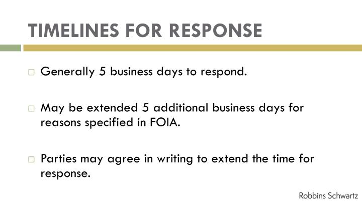 TIMELINES FOR RESPONSE