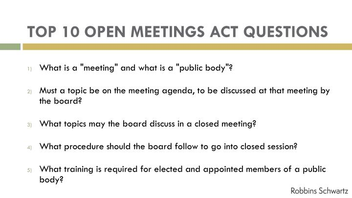 Top 10 open meetings act questions1