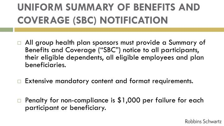 UNIFORM SUMMARY OF BENEFITS AND COVERAGE (SBC) NOTIFICATION