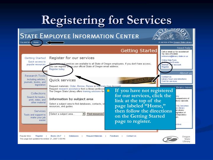 Registering for Services