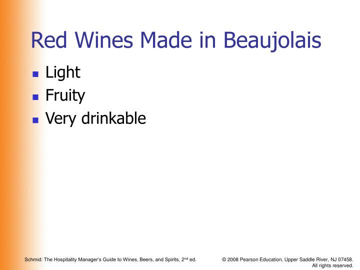 Red Wines Made in Beaujolais