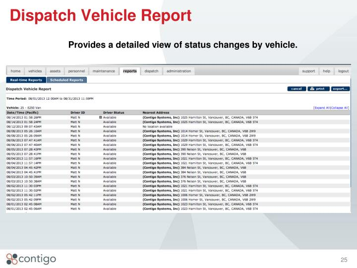 Dispatch Vehicle Report