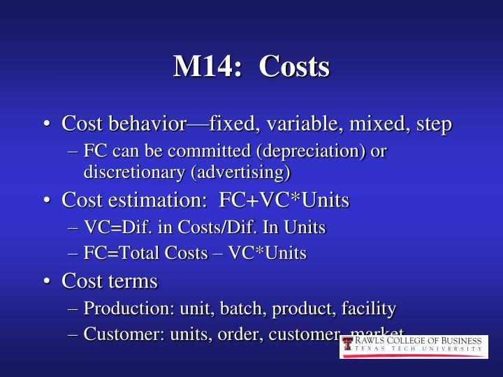 M14:  Costs