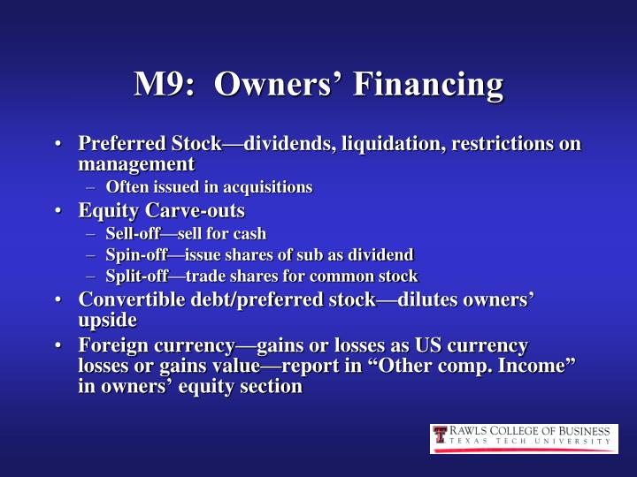 M9:  Owners' Financing