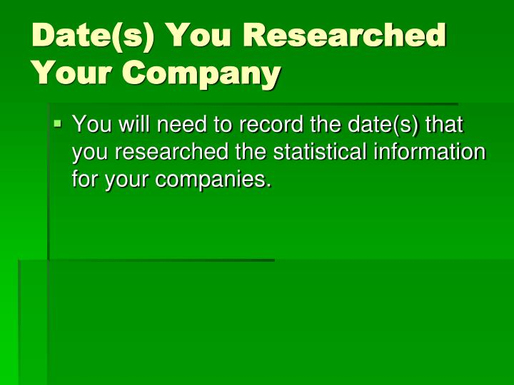 Date(s) You Researched Your Company