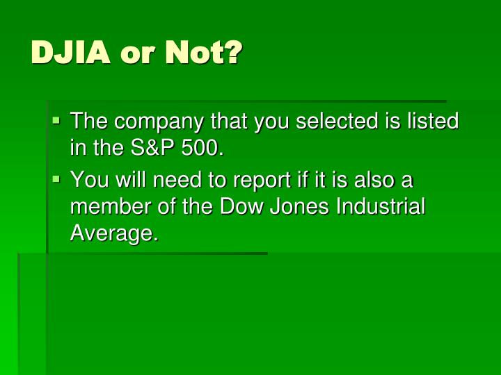 DJIA or Not?