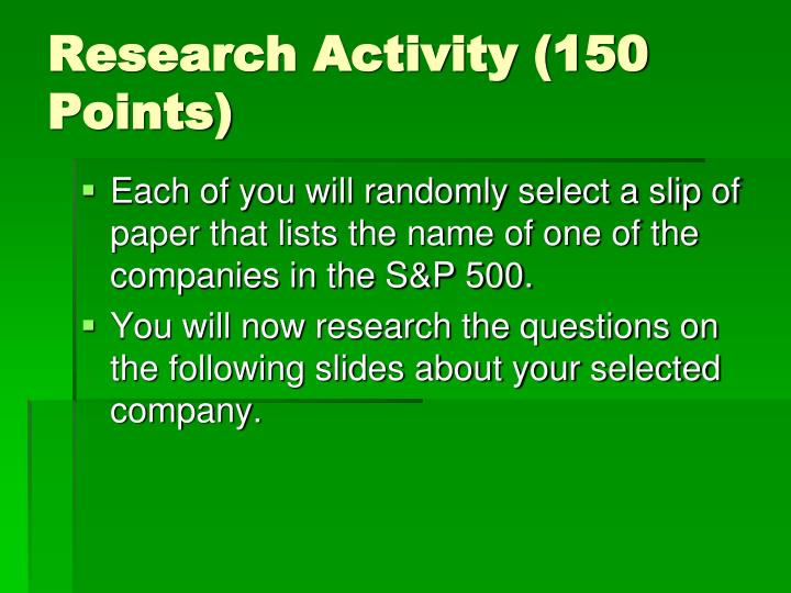 Research activity 150 points