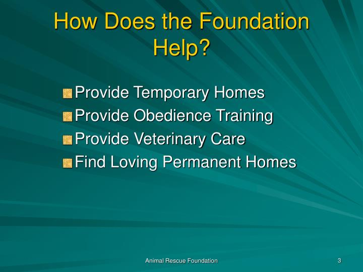 How Does the Foundation Help?
