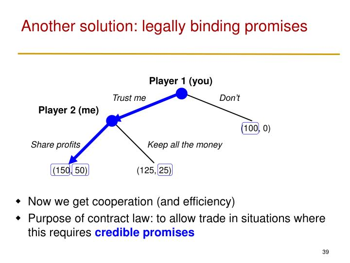 Another solution: legally binding promises