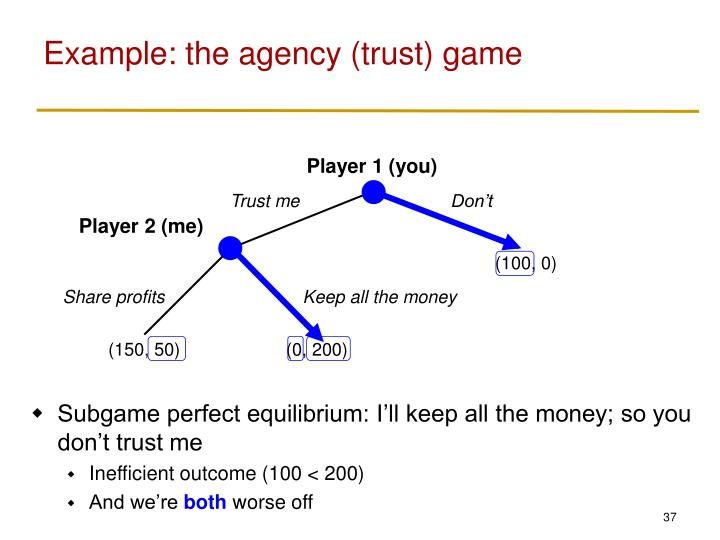 Example: the agency (trust) game