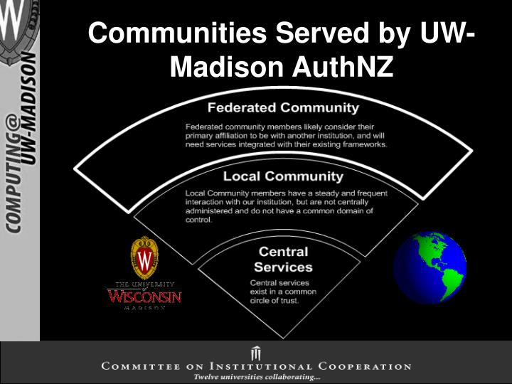 Communities served by uw madison authnz